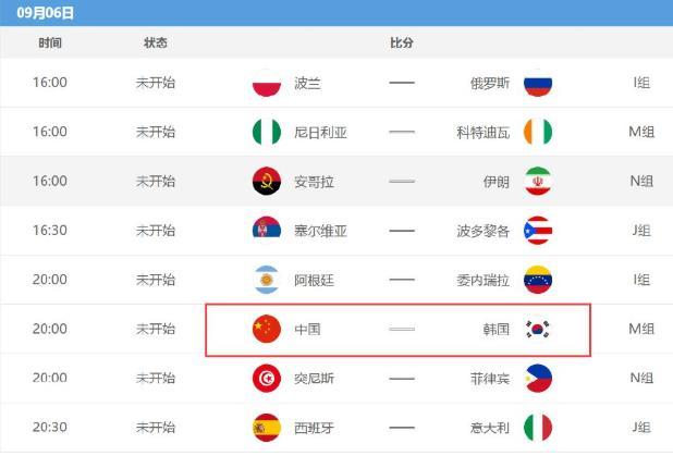 2019男篮世界杯排位赛时间表 中国对阵韩国排位赛什么时候开始