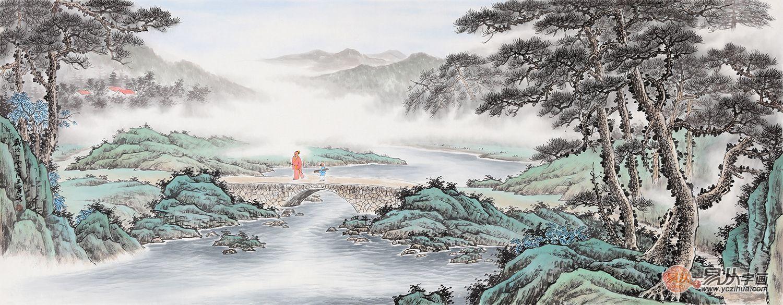 华贵优雅气质的山水作品 送朋友的字画就选它