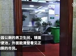 卫生间反人类设计 镜子正对便池上厕所如被直播