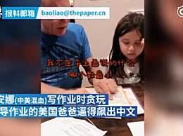 美国老爸陪写作业气到飙中文 辅导作业是所有家长的噩梦