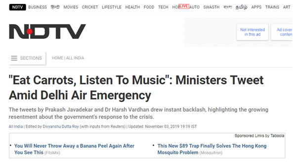 印度部长建议吃胡萝卜应对空气污染 网友:请提供新鲜无污染空气的链接