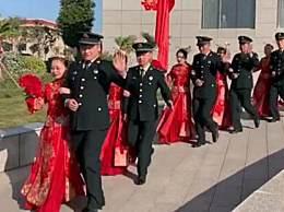 火箭军116对婚礼 集体婚礼现场画面很壮观