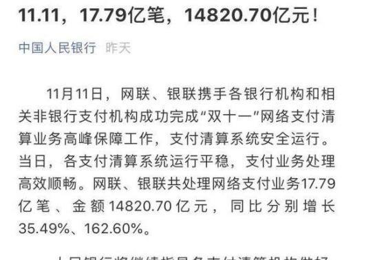 央行公布双11数据 全国人均花1000块达2684亿元