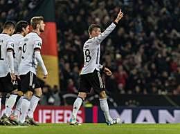 德国4-0提前出线完胜白俄罗斯 德国队6胜1负积18分暂居第一