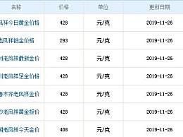 老凤祥黄金今日报价 老凤祥11月26黄金价格一览