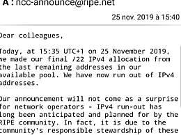全球IPv4地址正式耗尽 43 亿个IPv4地址已分配完毕