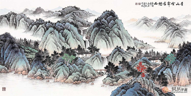 吴大恺青绿山水画《青山空霁含烟雨》 诗意常伴你左右