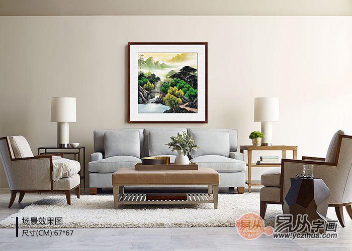 关于客厅背景墙挂什么画好?锦上添花就选山水画装饰