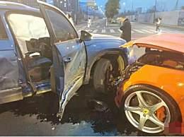 大众车撞烂法拉利 大众撞上法拉利致其严重受损