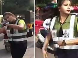 女生魔性指挥交通 印度女生用独创舞蹈指挥交通
