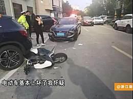 骑车S型走位被撞飞 肇事者全身多处受伤