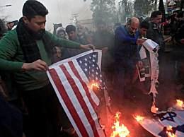 伊朗人焚烧美国国旗 伊朗将军被杀伊朗人上街抗议