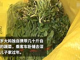 老人跨千里为孙子带数十斤蔬菜 沉甸甸的都是爱