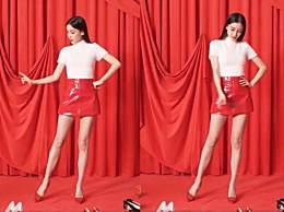 baby秀蚂蚁腰 红色短裙尽显大长腿
