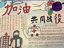 武汉加油手抄报图片简单又漂亮 2020武汉加油画报简笔画