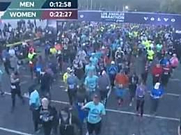 洛杉矶马拉松开跑 约有2.7万人参加人群密集
