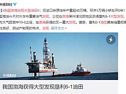 我国渤海发现大型油田 大约可供1万辆小轿车行驶5年