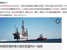 我国渤海发现大型油田 可供1万辆小轿车开5年