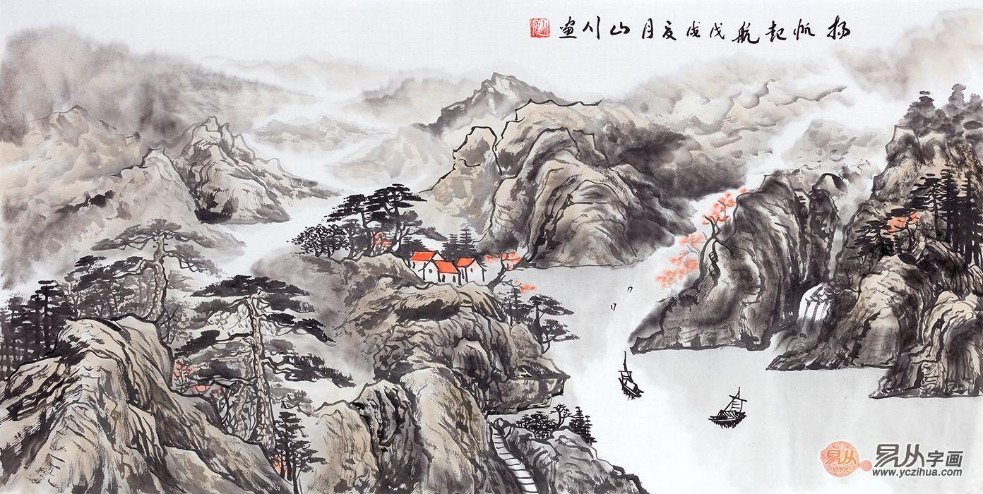 中式沙发背景墙挂什么画,这样挂山水画寓意才叫好