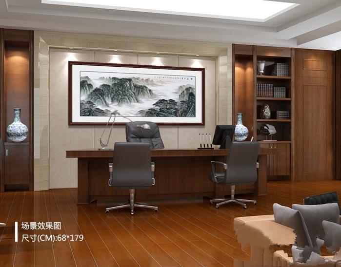 办公室如何装饰富有生机?手绘清秀山水佳作,办公环境不再单调