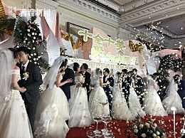 上海援鄂队员举办集体婚礼现场照