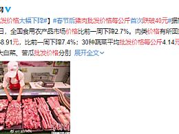 猪肉批发价格每公斤跌破40元