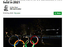 巴赫称奥运明年若无法如期将被取消