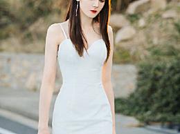 迪丽热巴婚纱造型玲珑有致