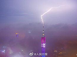 雷击广州塔全过程