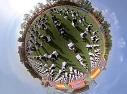 大四学生拍全景毕业照 独特视角记录毕业瞬间