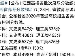 2020江西高考分数线公布