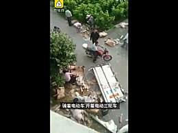 政府已追回部分被哄抢猪肉 车祸后7吨猪肉遭哄抢后续