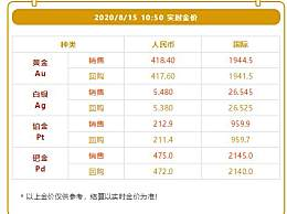 黄金今日回收价格2020年8月15日 黄金贵金属价格行情走势