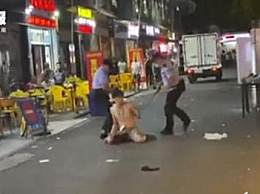 男子持刀挑衅被民警枪击倒