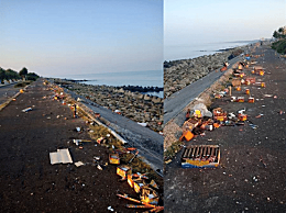 """中秋后台南海岸上都是垃圾 台南黄金海岸线沦为""""垃圾海岸"""""""