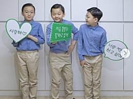宋家三胞胎近照 大韩民国万岁真是暴风成长