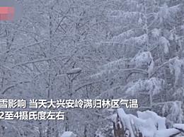 大兴安岭满归林区积雪超20厘米