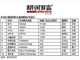 2020胡润中国10强消费电子企业