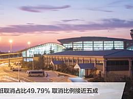 青岛流亭机场近半航班取消
