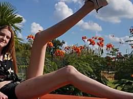 美17岁少女拥有逆天大长腿 打破两项世界纪录