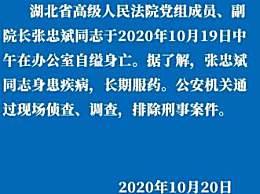 湖北高院:副院长张忠斌自缢死亡