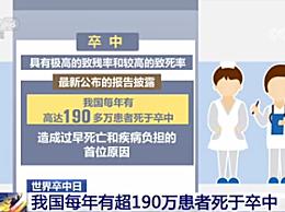 我国每年有超190万患者死于卒中