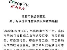 毛洪涛事件有关情况调查的通报