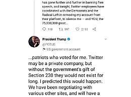 推特被封号 特朗普称将建立自己的平台