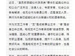 中国视协称郑爽超越道德底线