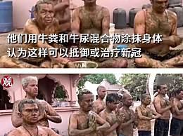 印度民众涂满牛粪抵御新冠